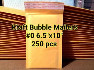 Lots Of 250 0 6 x10 Kraft Self Sealed Bubble Mailers Padded Envelope Bags New
