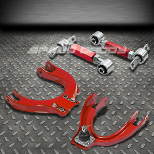 Red 4pc Front rear Camber Control Suspension Kits 88 91 Honda Civic crx Ed ee
