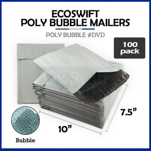 100 0 7 5 X 10 Poly Bubble Mailers Padded Envelope Shipping Supply Bags Dvd