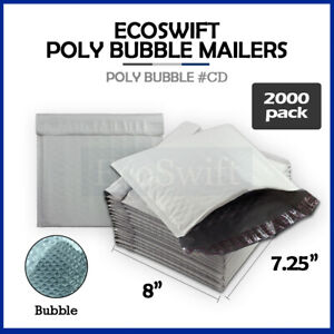 2000 cd 7 25 X 8 Poly Bubble Mailers Padded Envelope Shipping Supply Bags
