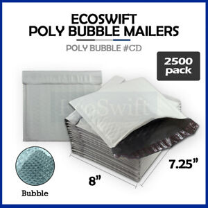 2500 cd 7 25 X 8 Poly Bubble Mailers Padded Envelope Shipping Supply Bags