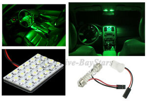 2x T10 Festoon Universal 24 Smd Neon Green Led Panel Interior Dome Map Light