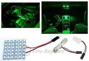 2x T10 Festoon Universal 36 Smd Neon Green Led Panel Interior Dome Map Light