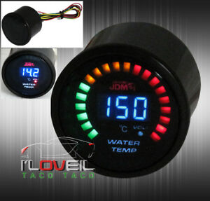 2 Digital Jdm Blue Led Rpm Water Temperature 52mm Race Car Gauge Meter Toyota