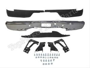 For 99 07 Silverado 1500 2500 Fleetside Rear Bumper Chrome Top Pad Brackets 6