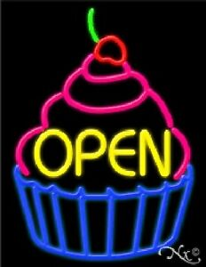 Open Cupcake Handcrafted Real Glasstube Neon Sign