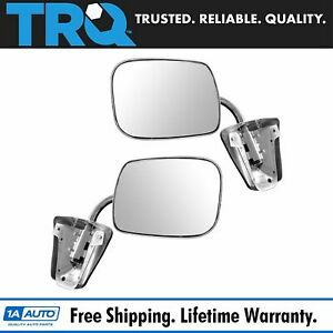 Stainless Steel Manual Side View Mirrors Lh Rh Pair Set For Chevy Truck
