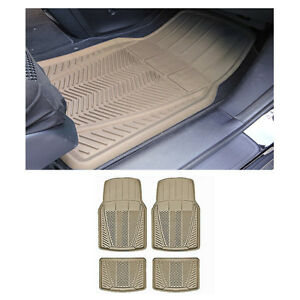 4 Pc Md Car Beige Tan Front Rear Utility Heavy Duty Rubber Floor Mats Set