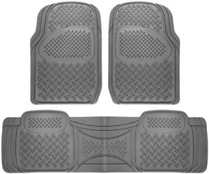 Car Floor Mats For All Weather Rubber 3pc Set Diamond Fit Heavy Duty Grey