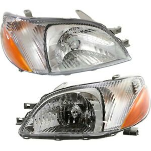 Headlight Set For 2000 2001 2002 Toyota Echo Left And Right With Bulb 2pc