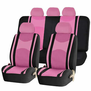 Pink Bk Honeycomb Airbag Ready Split Bench Seat Covers 6pc Set For Cars 1142