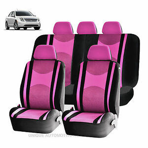 Pink Bk Honeycomb Mesh Airbag Ready Split Bench Seat Covers Set For Cars 1241