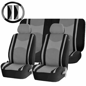 Gray Black Poly Mesh Split Bench Seat Covers Combo For Cars 1343