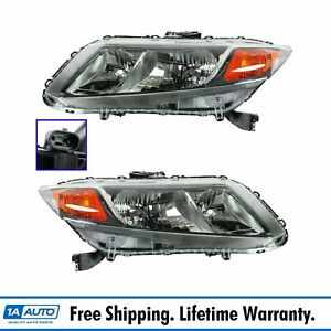 Headlights Headlamps Left Lh Right Rh Pair Set Of 2 For 2012 Honda Civic