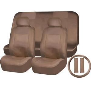 11pc Solid Dark Beige Tan Pu Synthetic Leather Seat Cover Set For Trucks 1659
