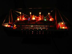 Titanic Wooden Model Cruise Ship With Flashing Light 16 Fully Assembly