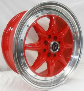 17 Inch 8006 White Diamond Wheel Rims Tires Red Fit 5 X 100