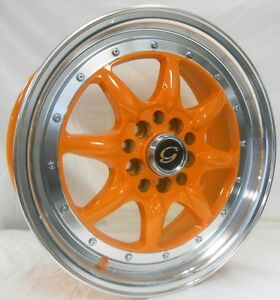 17 Inch 8006 White Diamond Wheel Rims Tires Orange Fit 5 X 100