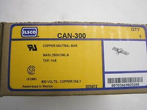 New Sealed Ilsco Can 300 Copper Neutral Bar Can300
