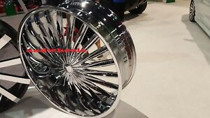 24 X 9 5 Velocity V11 Chrome Wheels Rims Tires Fit 5 X 115 Charger Challenger