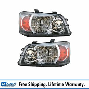 Headlights Headlamps Left Right Pair Set New For 04 06 Toyota Highlander