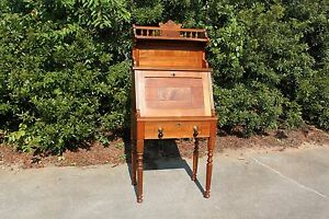 Gorgeous Walnut Victorian Slant Front Desk With Fancy Spool Turned Gallery Top