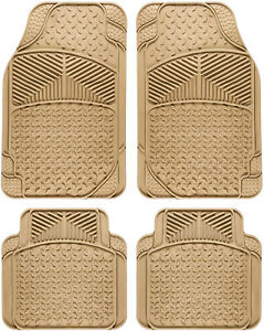 Car Floor Mats For All Weather Rubber 4pc Set Eagle Fit Heavy Duty Beige