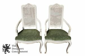 2 Vintage French Provincial Country Dining Chairs Cottage Chic Caned Back Accent