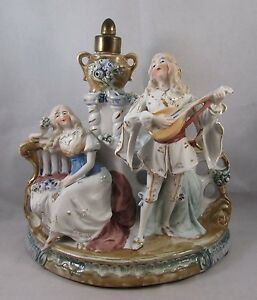 Antique German Bisque Figurine Courting Couple Marked Germany 5746