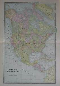 1898 North America Large 2 Page Color Atlas Map W Towns Railroads Forts Etc