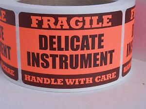 Delicate Instrument Fragile Handle With Care 2x3 Sticker Label Fluor Red 250 rl