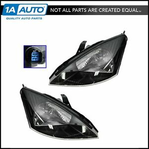 Headlights Headlamps Pair Set For 02 04 Ford Focus Svt