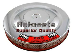 14 x2 Round Chrome Ford Mustang 289 Logo Air Cleaner Breather Fastback Coupegt