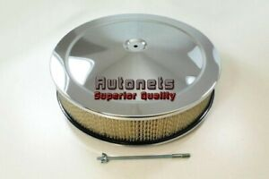14 Round Muscle Car Chrome Air Cleaner Breather Chevy Ford Mopar Dominator Base