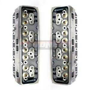 Pair Small Block Chevy Aluminum Bare Cylinder Heads Sbc327 350 64 205cc Straight
