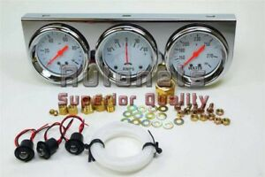 Chrome Steel Triple Gauge Kit Oil Pressure Ammeter Water Temperature Mechanical