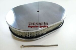 12 Oval Polished Smooth Plain Aluminum Air Cleaner Sbc Bbc Chevy Ford Mopar Gm