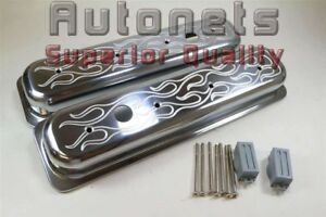 Sbc Chevy 305 350 Vortec Center Bolt Polish Flame Aluminum Valve Cover Stock