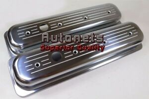 Sbc 305 350 Center Bolt Polish Aluminum Valve Cover Ball milled Short 5 0 5 7