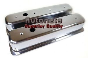 Small Block Chevy 305 350 Polish Aluminum Centerbolt Valve Cover Plain Sbc Short