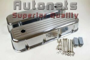Big Block Chevy Polished Aluminum Tall Valve Covers Ball Milled 396 427 454 502