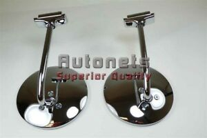 4 1 2 Round 6 Long Chrome Stainless Peep Mirror Sideview Hot Street Rod Door