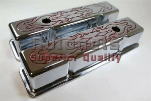 Sbc Red Flame Chrome Valve Cover 283 305 327 350 Small Block Chevy Tall