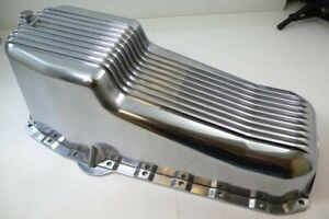 58 79 Sbc Chevy Finned Polished Aluminum Oil Pan Small Block 283 305 327 350