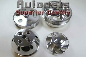 Polish Billet Aluminum Sbc Chevy Lwp Long Water Pump Crank Serpentine Pulley 350