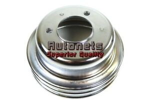 Chrome Steel Small Block Ford Mustang 289 Crankshaft Pulley Double 2 Groove Rod