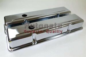 Chrome Steel Short Valve Cover Small Block Chevy 265 283 305 307 327 350 Sbc