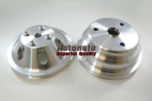 Billet Aluminum Pulley Set Sbc Chevy 283 350 Long Water Pump Single 1 Groove Lwp