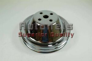 Small Block Chevy Chrome Short Water Pump Pulley Double 2 Groove Swp Sbc 350