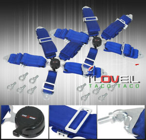 3 Pair Blue 5 Point Pt Harness Camlock Racing Seat Safety Belts Latch Clip On